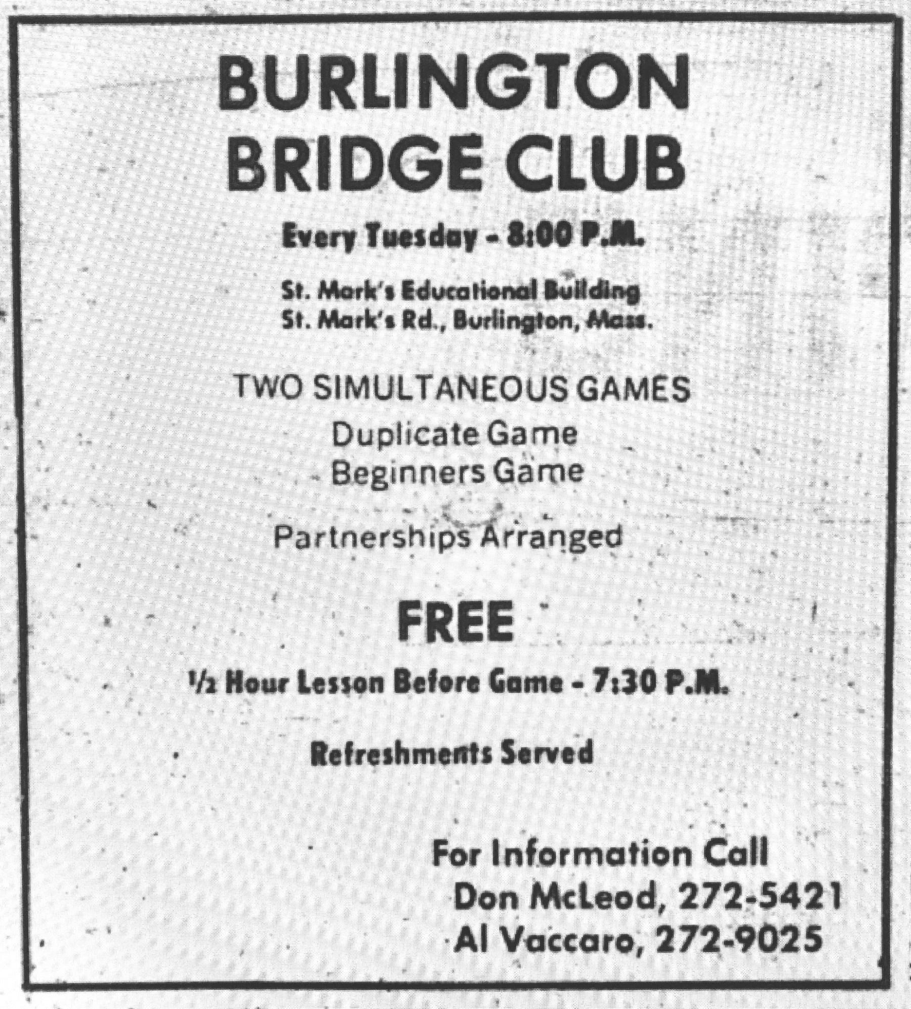 Burlington Bridge Club Burlington MA