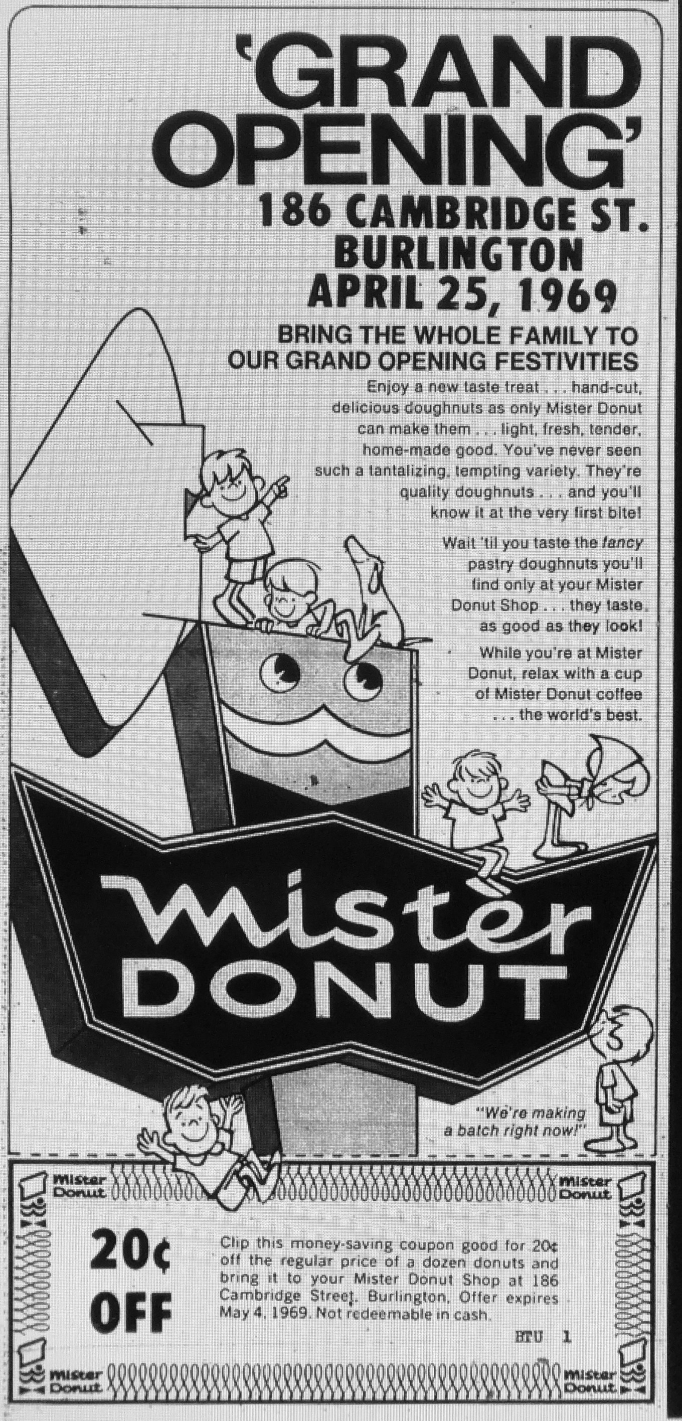 Mister Donut grand opening ad Burlington MA