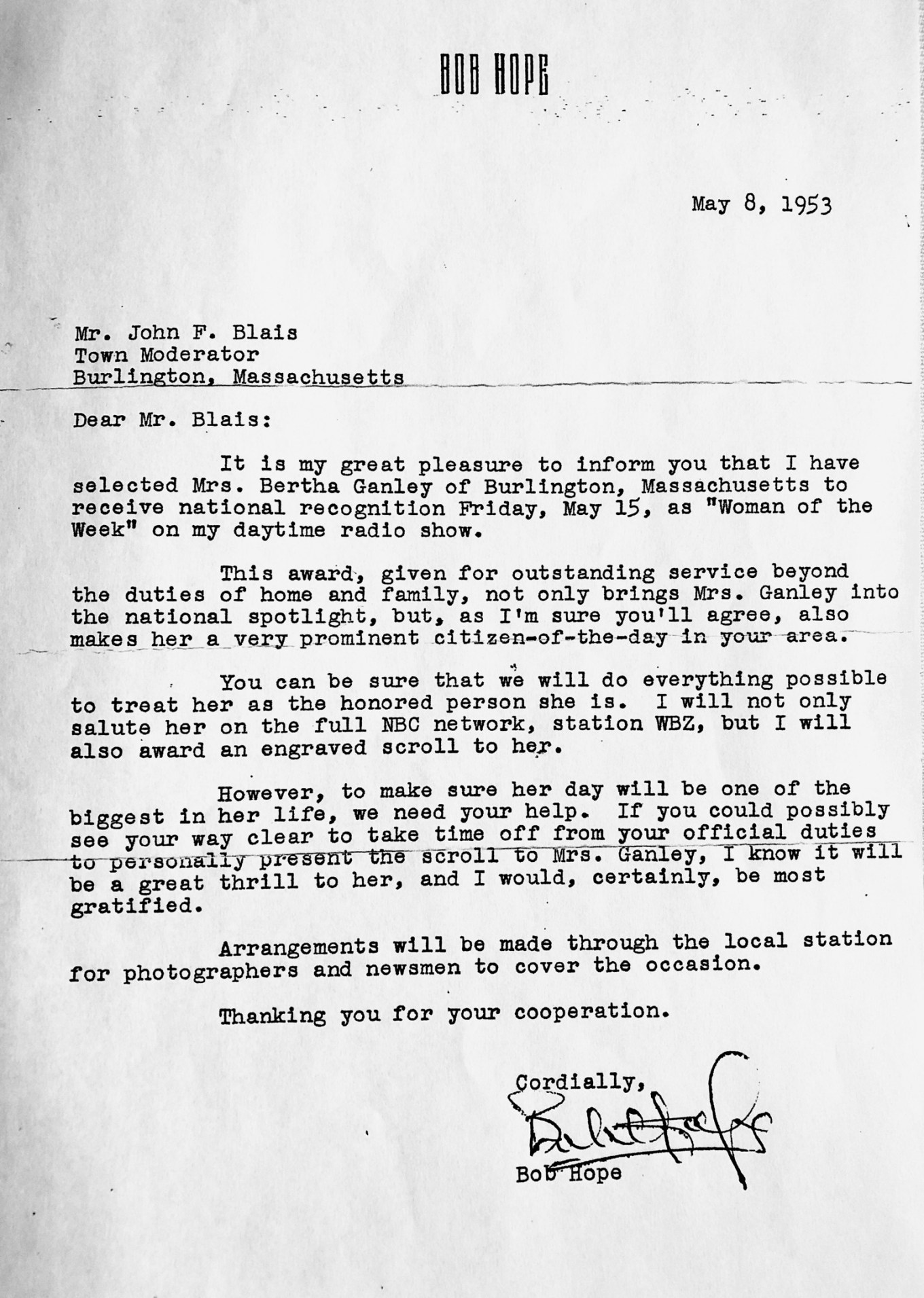 Bob Hope's letter to Burlington. Credit: Gerald Ganley