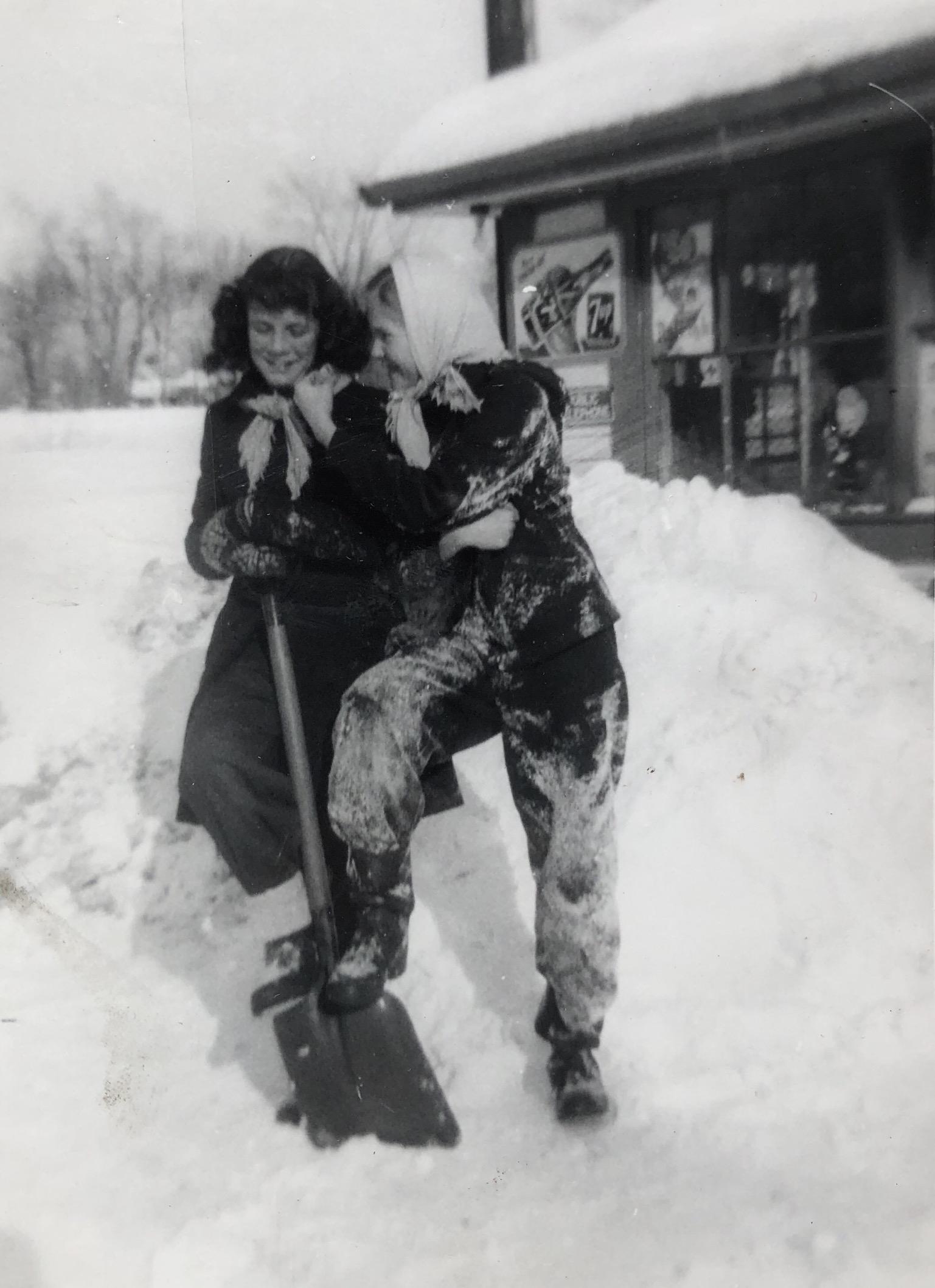 Frances Galipeau (l) and Dorothy Carpenter, allegedly shoveling
