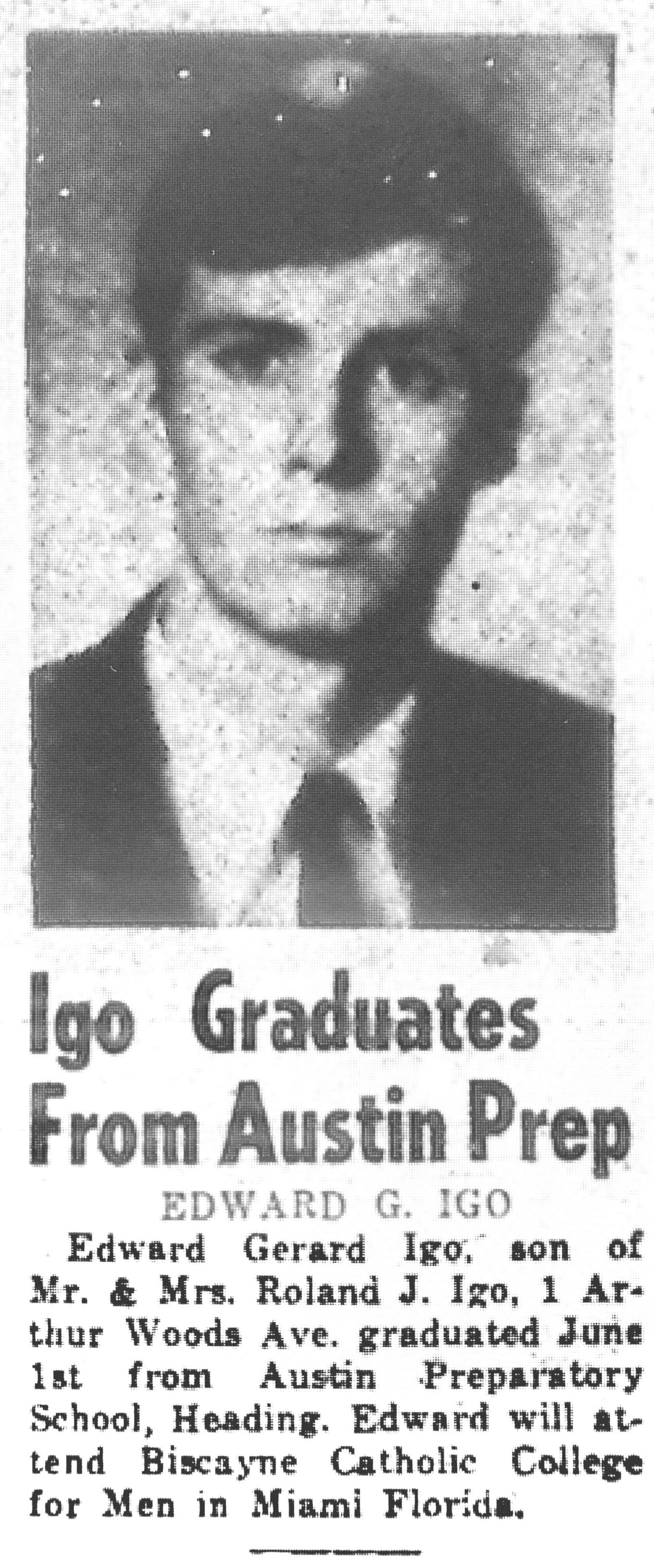 Edward Igo graduates Austin Prep