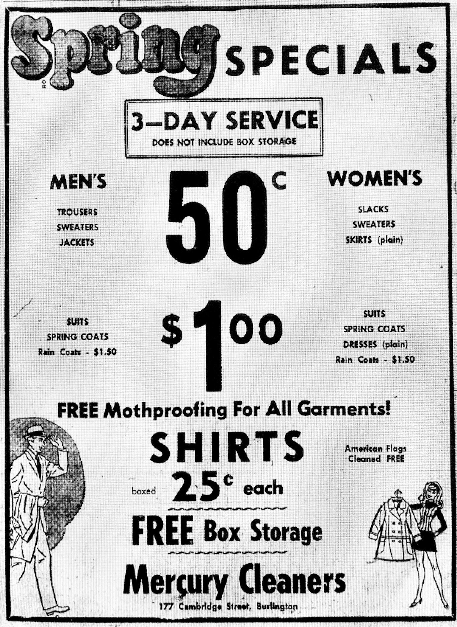 Mercury Cleaners ad Burlington MA