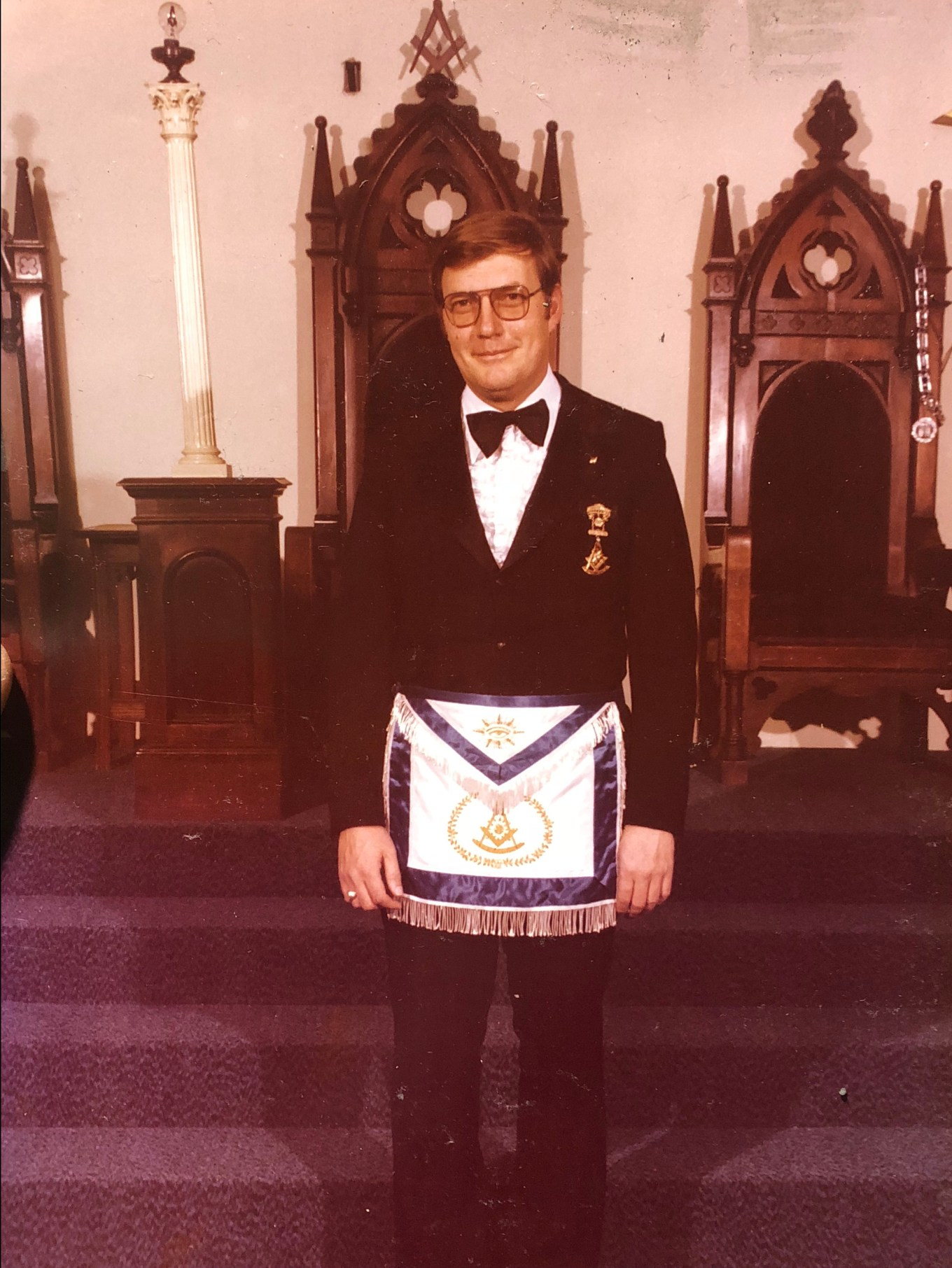 Walter Graham in full Masonic regalia, Burlington MA