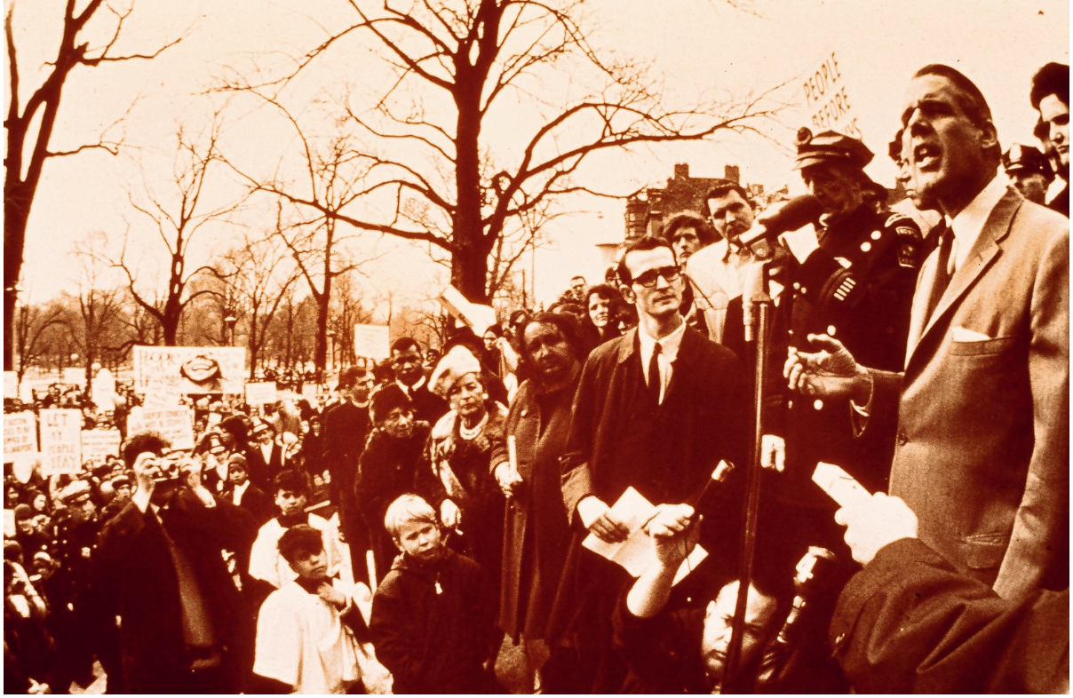 Gov. Francis Sargent with inner belt protestors. (Cambridge Historical Society)