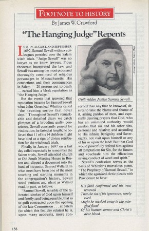 Judge Samuel Sewall article