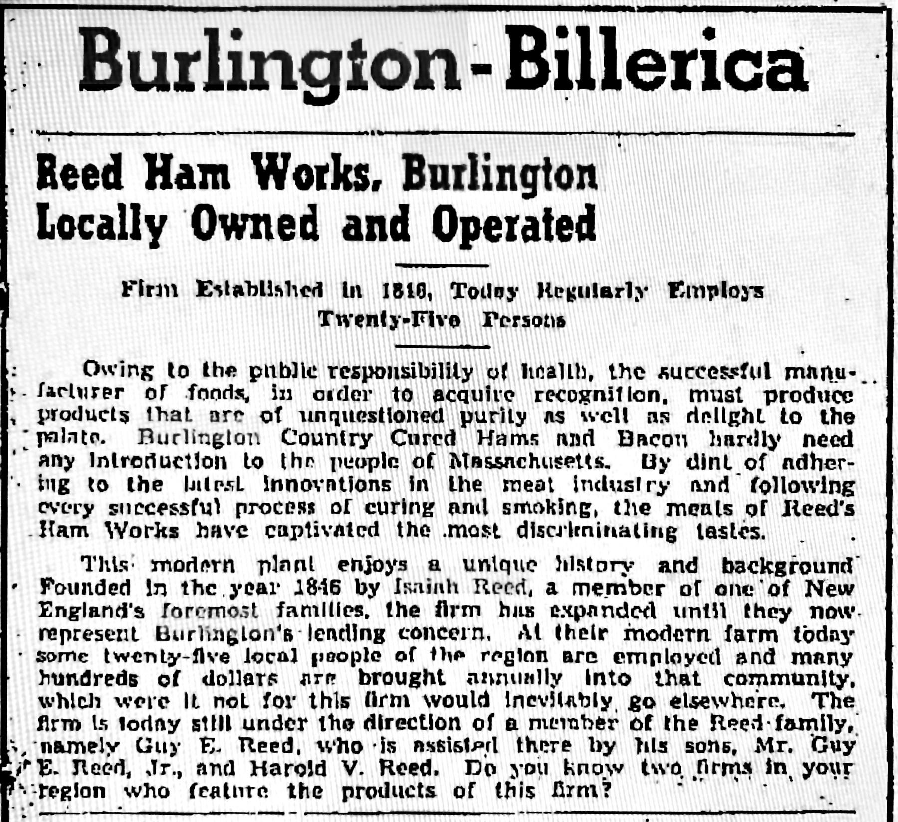 Reed Ham Works 1941 ad, Burlington MA