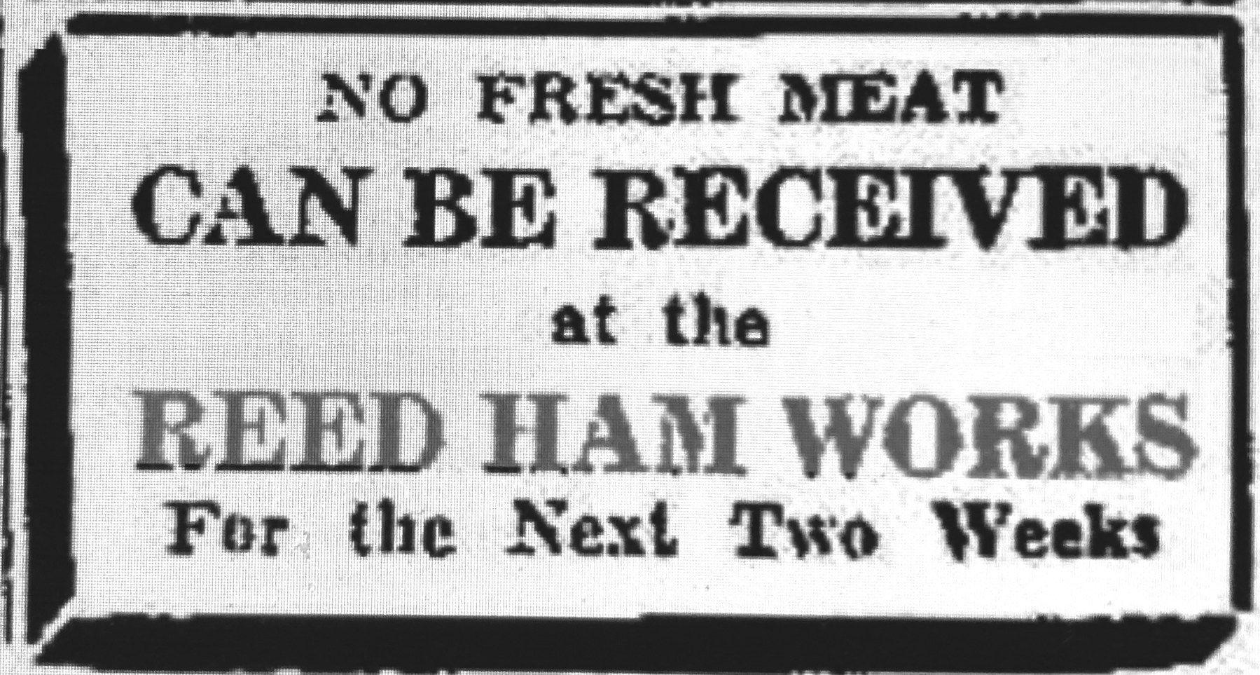 Jan 7 1944 Reed Ham Works no meat ad
