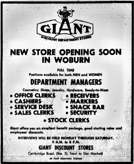 Giant Discount Store Woburn MA grand opening