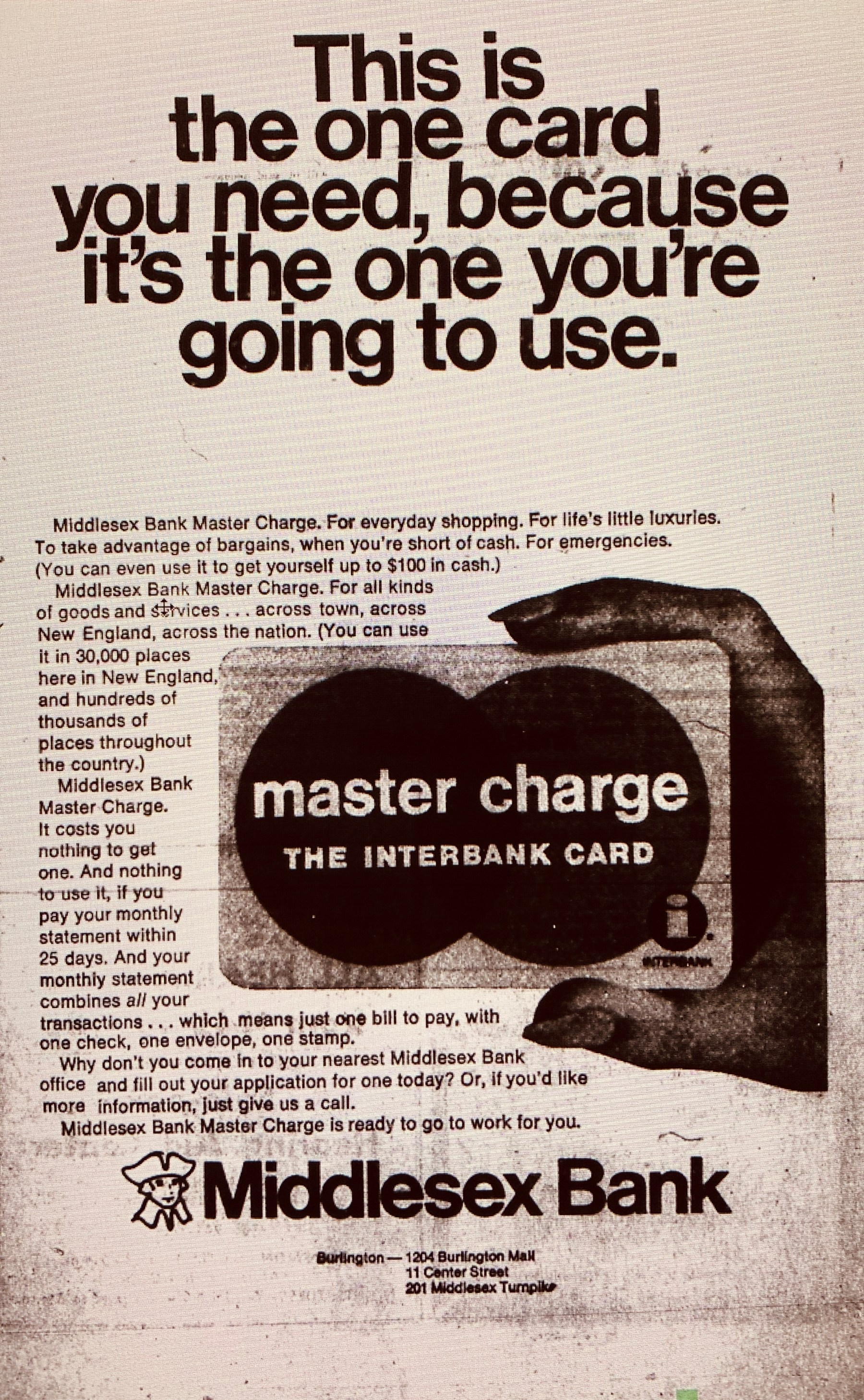 Middlesex Bank ad, Burlington MA 1969