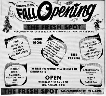 Fresh Spot grand opening ad, Burlington MA