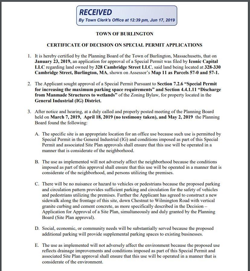 Reed Ham Works special permit decision, Burlington MA