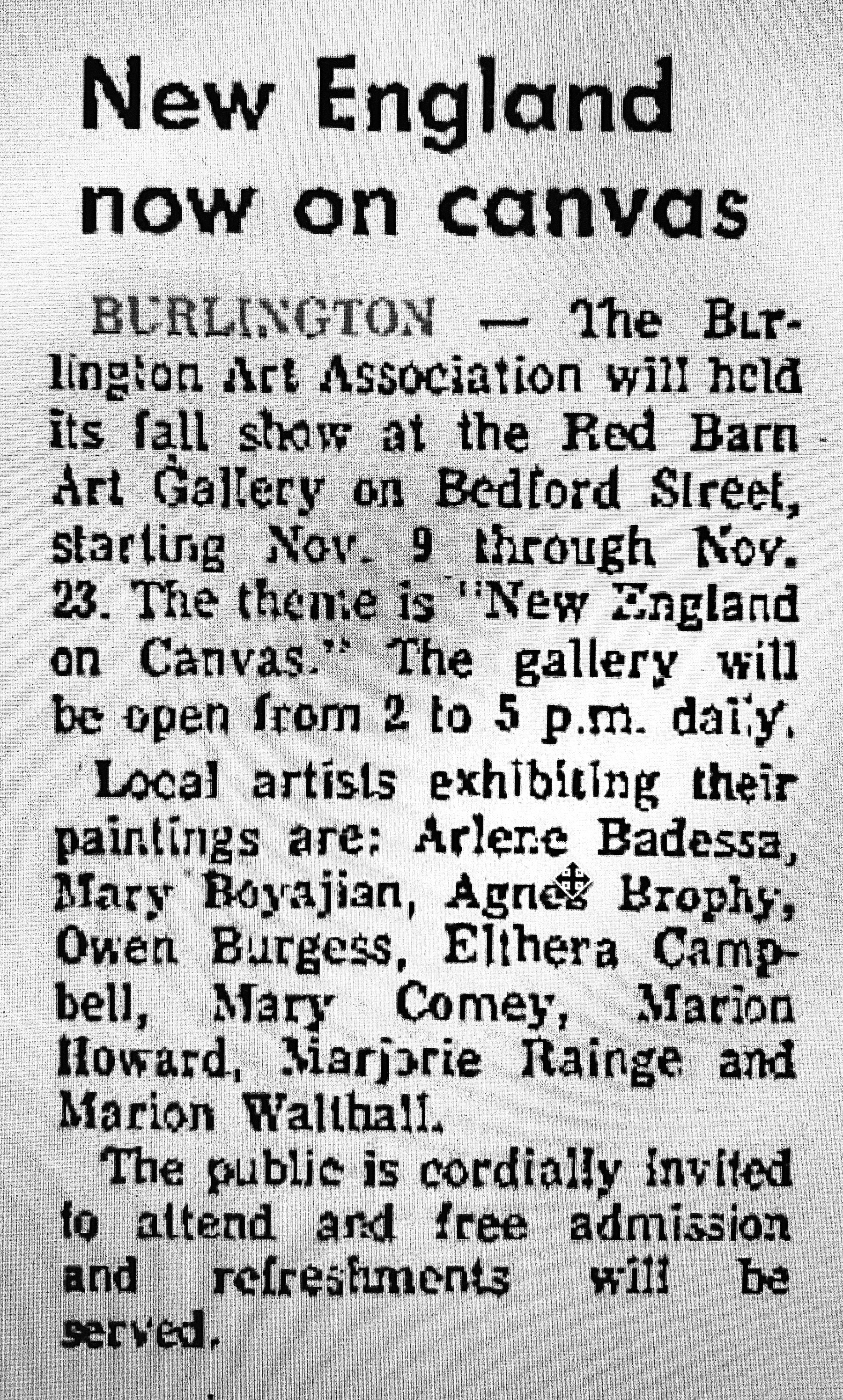 Local artists 1969 Burlington MA