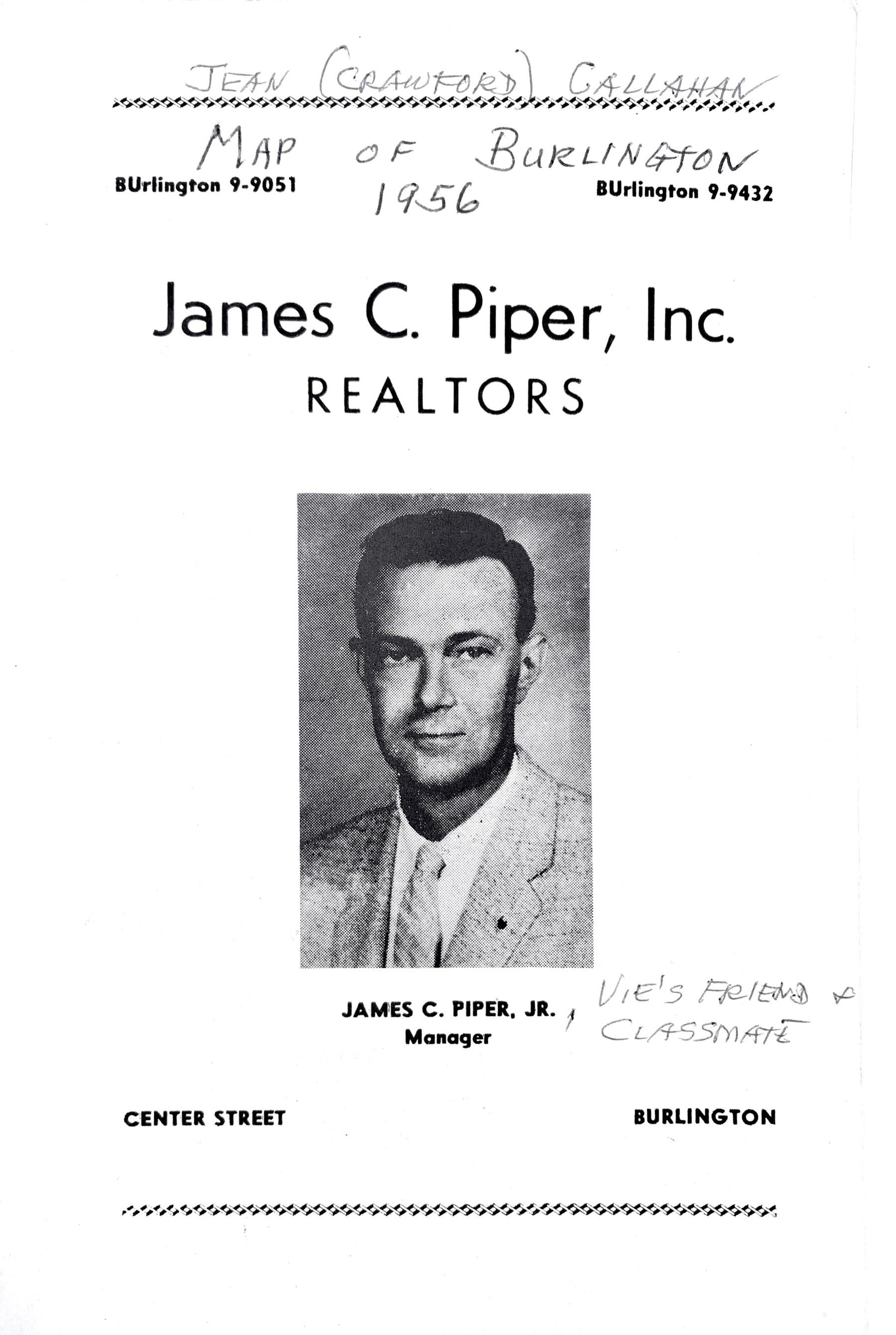 1956 Burlington map cover 1956, James C. Piper Inc. ad
