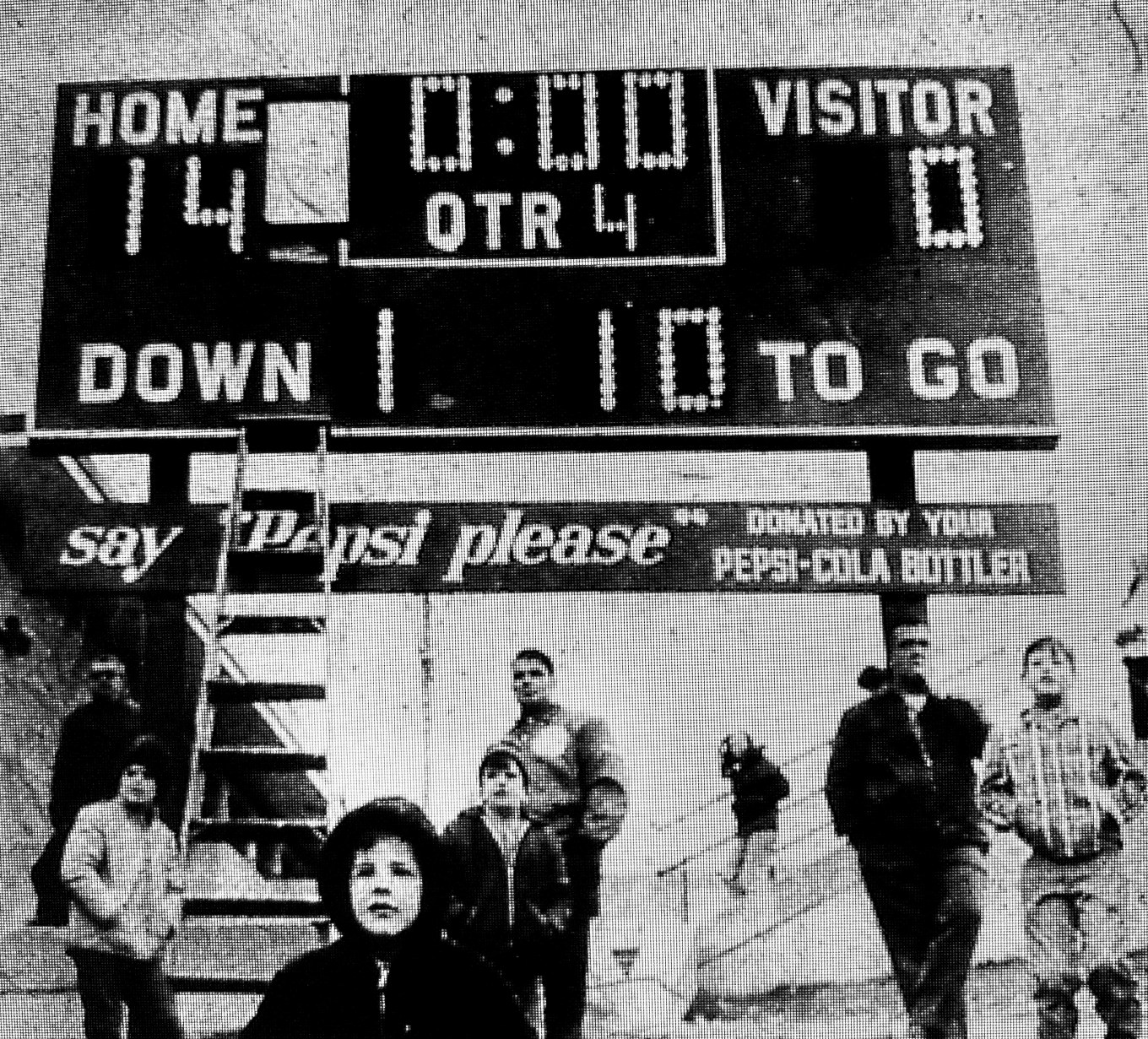 1969 Thanksgiving football game scoreboard