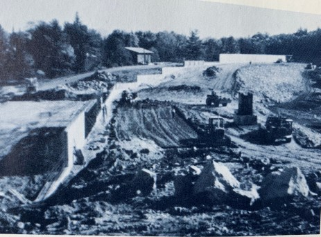 Mill Pond Reservoir wall construction Burlington MA