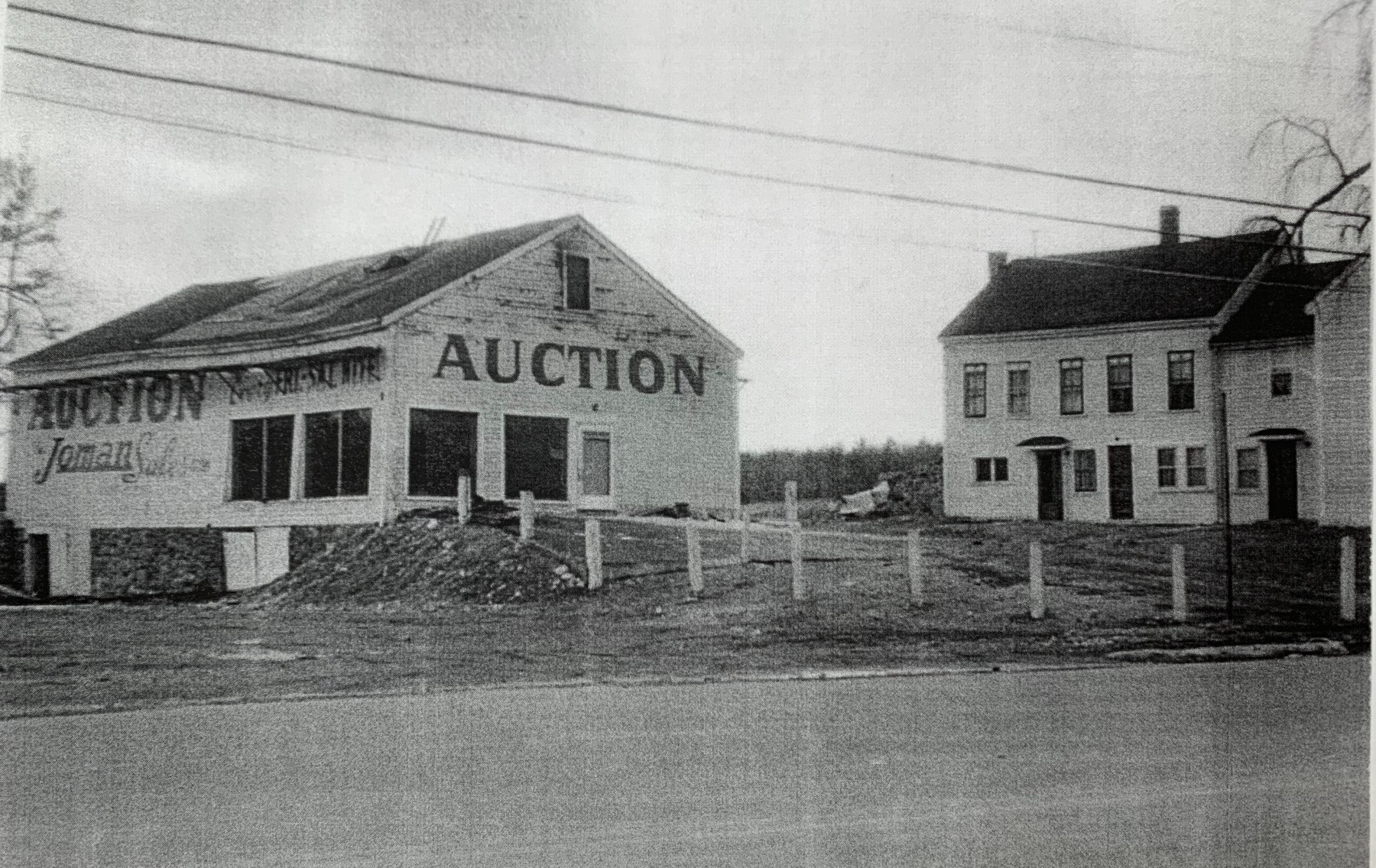 Joman Auction barn and Sulujian Farm, c. 1950, Burlington MA
