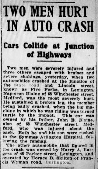 1920s auto crash Lexington MA