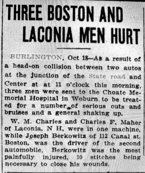 Burlington car accident 1923
