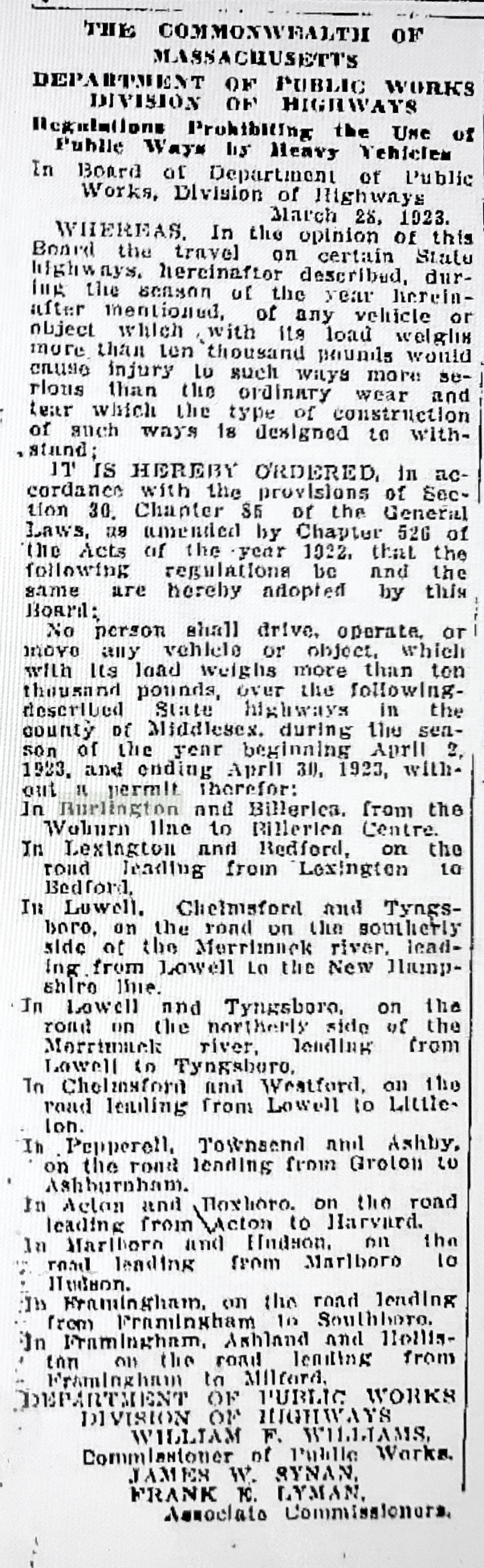 1923 truck ban on major roads, Burlington MA
