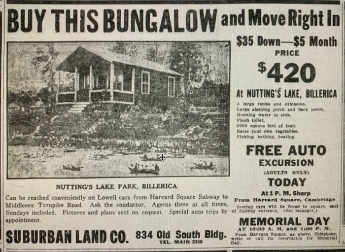 1918 real estate ad, Nutting's Lake, Billerica
