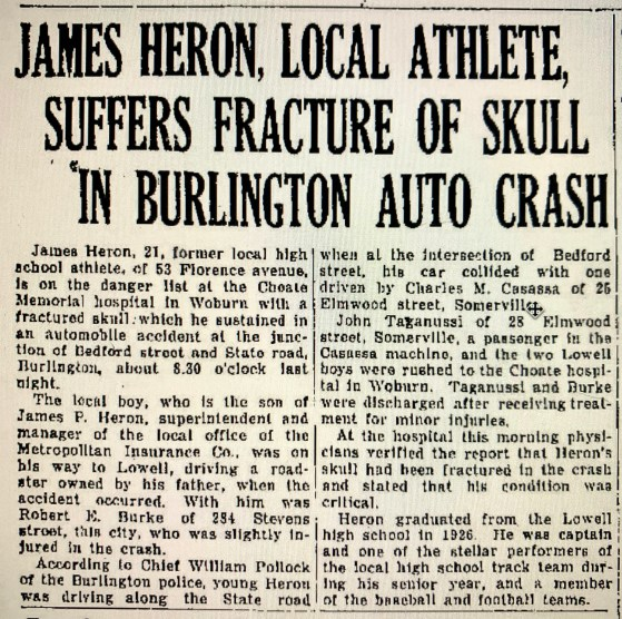 1930 car accident Burlington MA