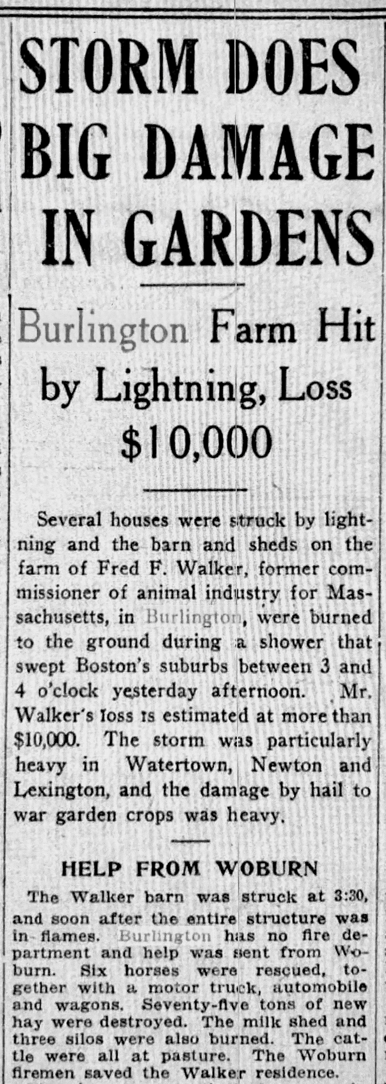 1918 Walker Farm lightning, Burlington MA