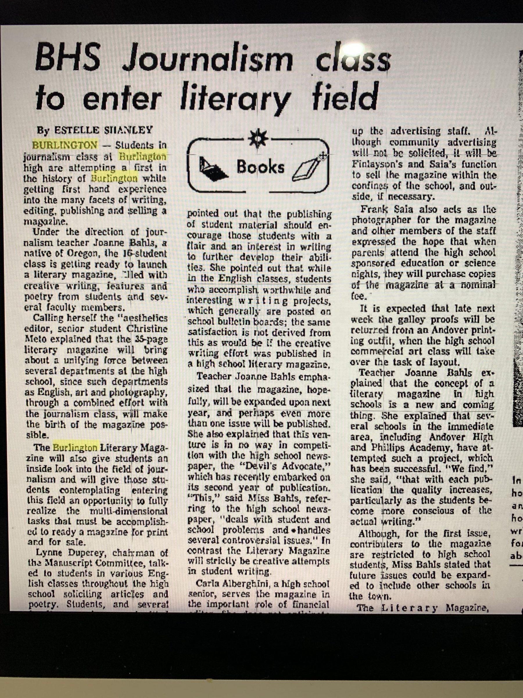 BHS literary magazine 1970 Burlington MA