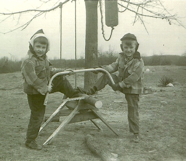 Fred and Louise cutting wood