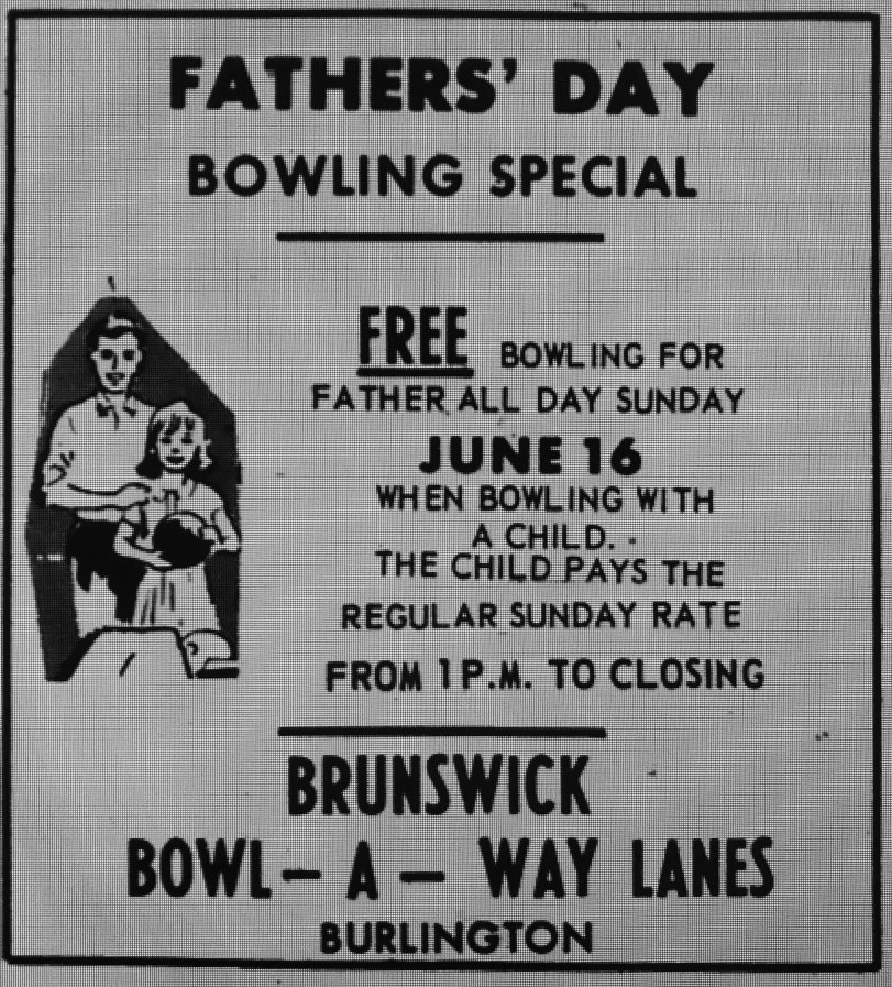 Bowl-A-Way Lanes Father's Day ad