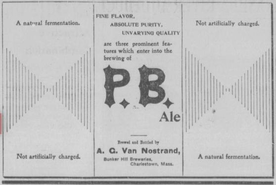 P.B. Ale ad 1896 Van Nostrand, Bunker Hill Breweries