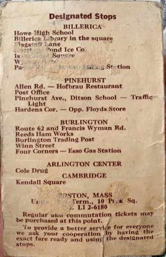 1952 Lowell to Boston bus schedule