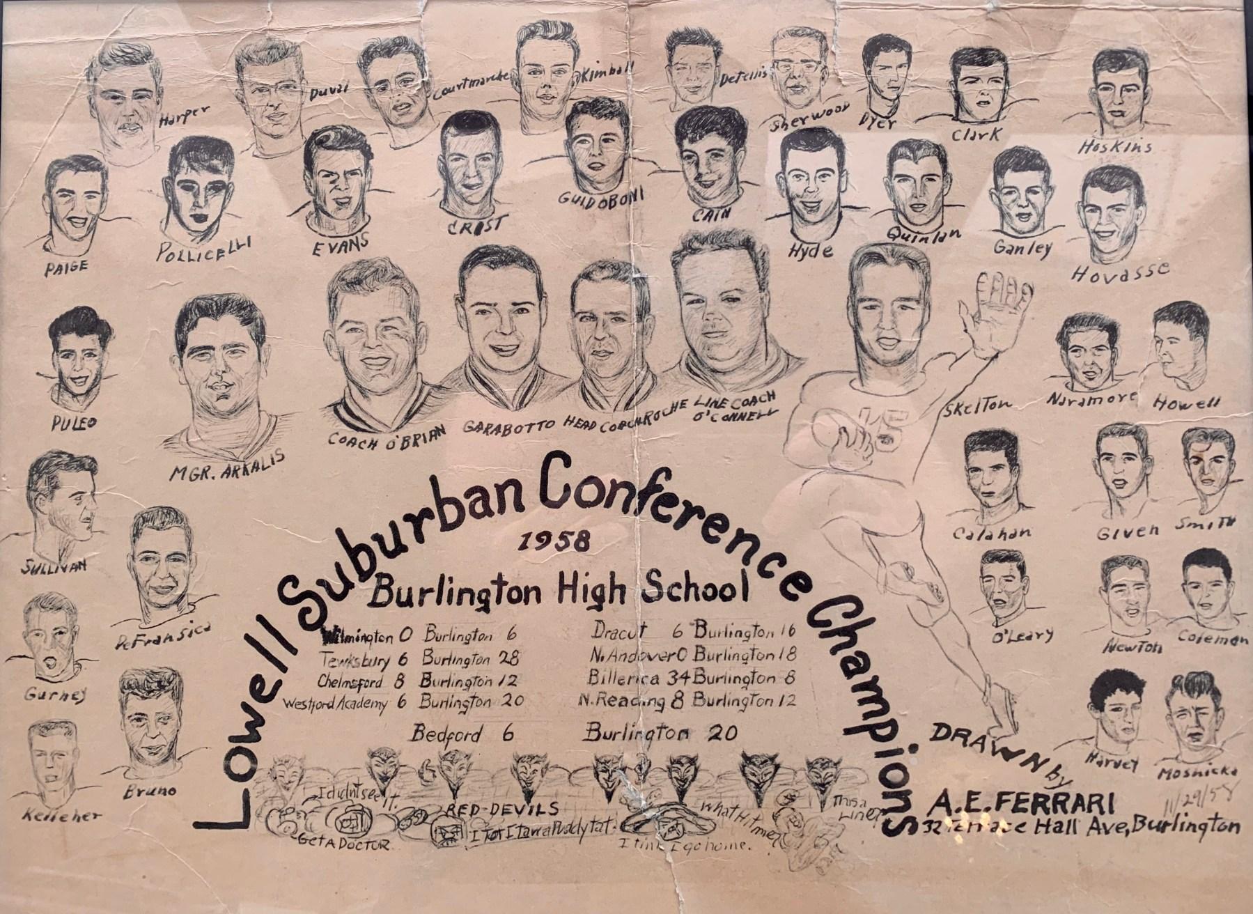1958 Burlington High School Football 1958, Burlington MA