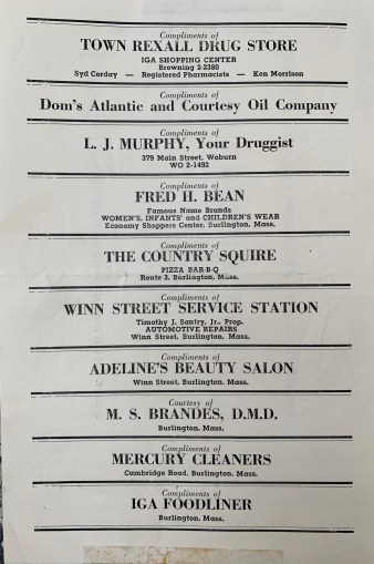 1958 football game sponsors Burlington