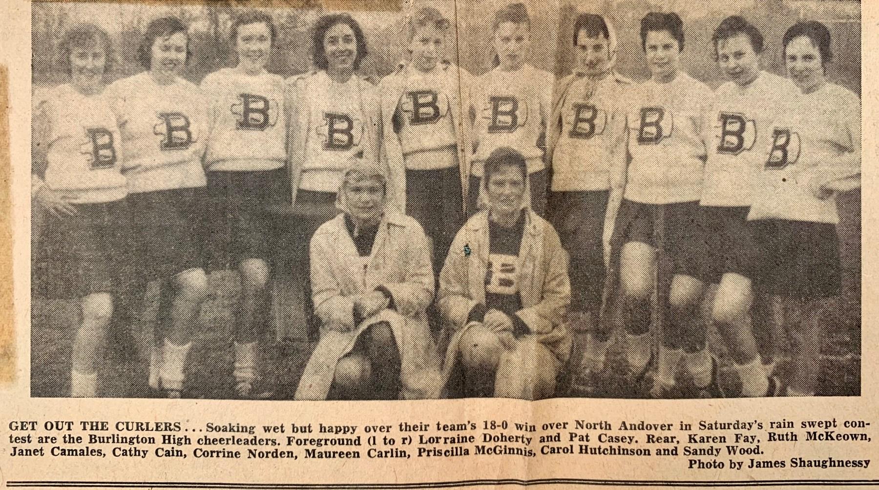 1956 Burlington High School football cheerleaders