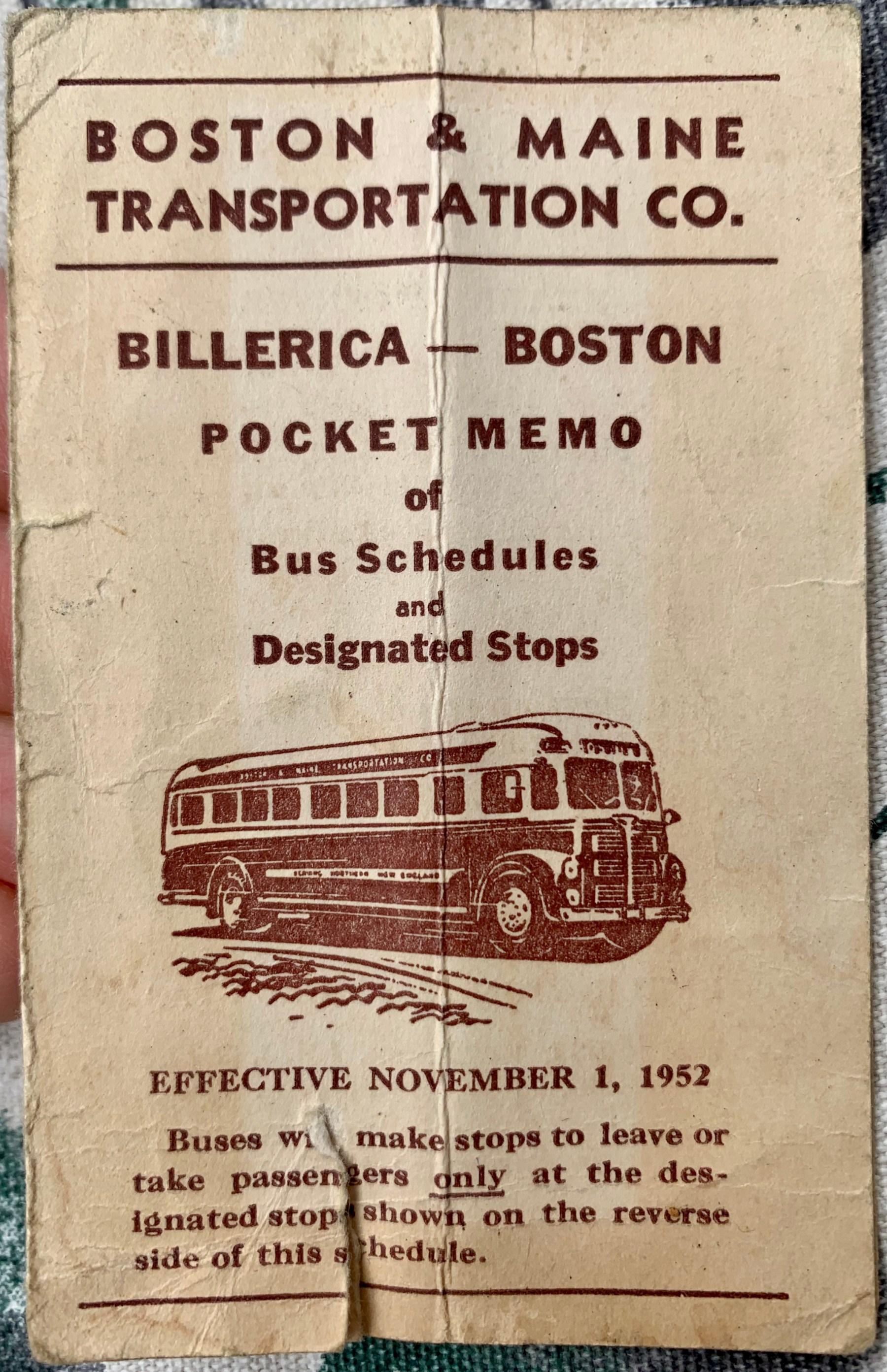 Boston & Maine bus route 1952, Burlington MA
