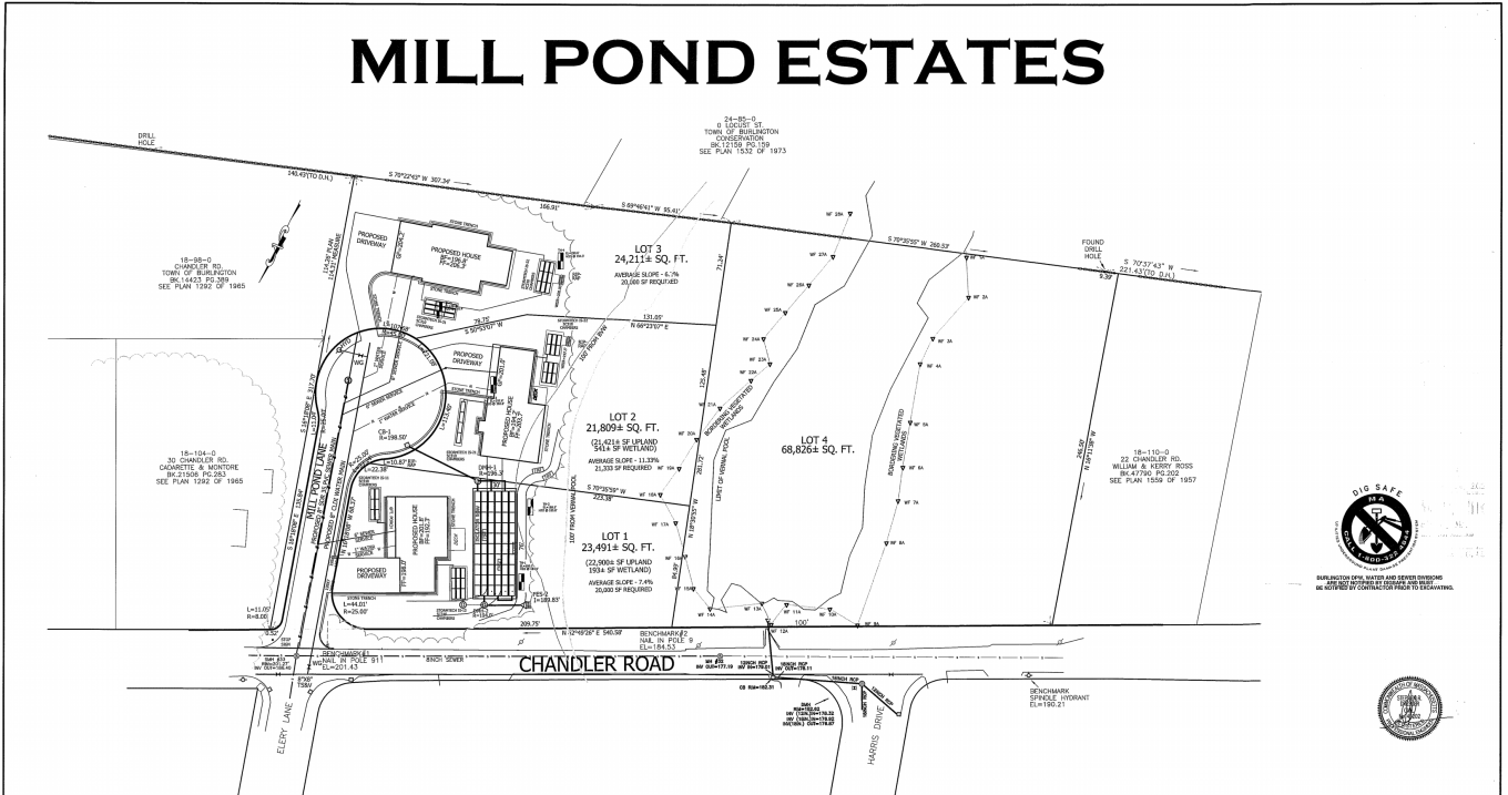 Mill Pond Estates plan, Burlington MA