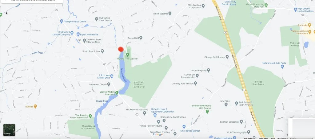Blondin crime scene map, Chelmsford, MA