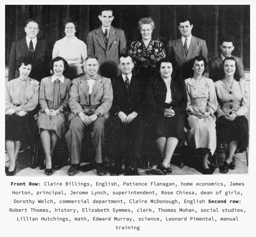 BHS staff, 1950. Pimentel on the far right.
