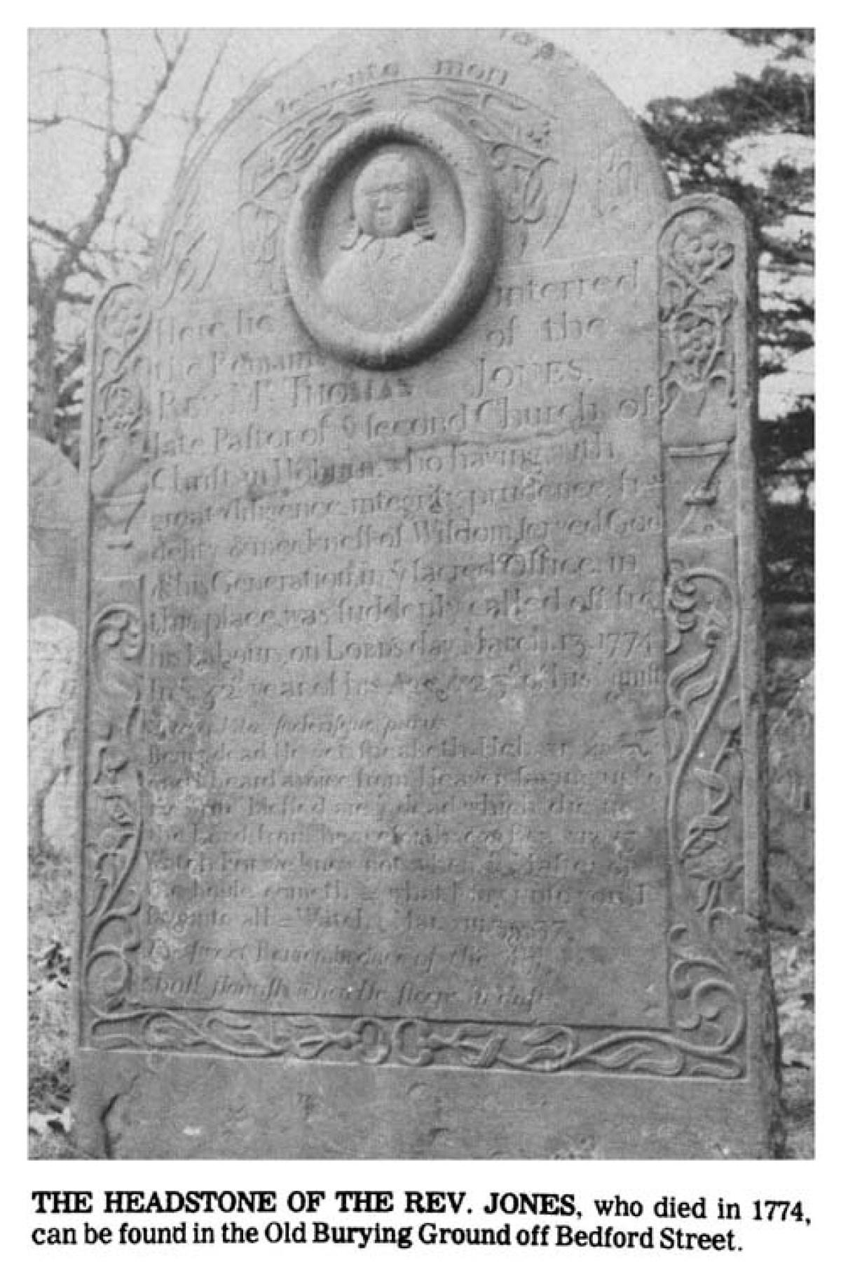 Rev. Jones gravestone Burlington MA