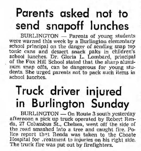 News tidbits, Burlington MA 1971
