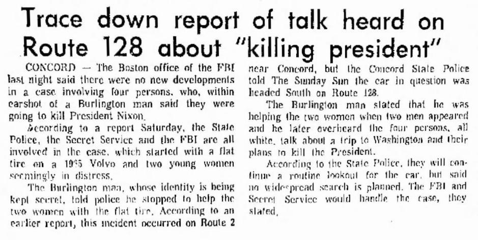 Killing president conspiracy, Burlington MA 1971