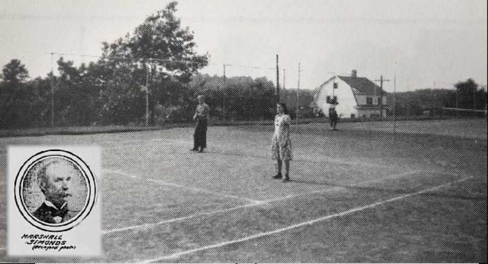 Simonds Park tennis courts, early 1900s, Burlington, MA