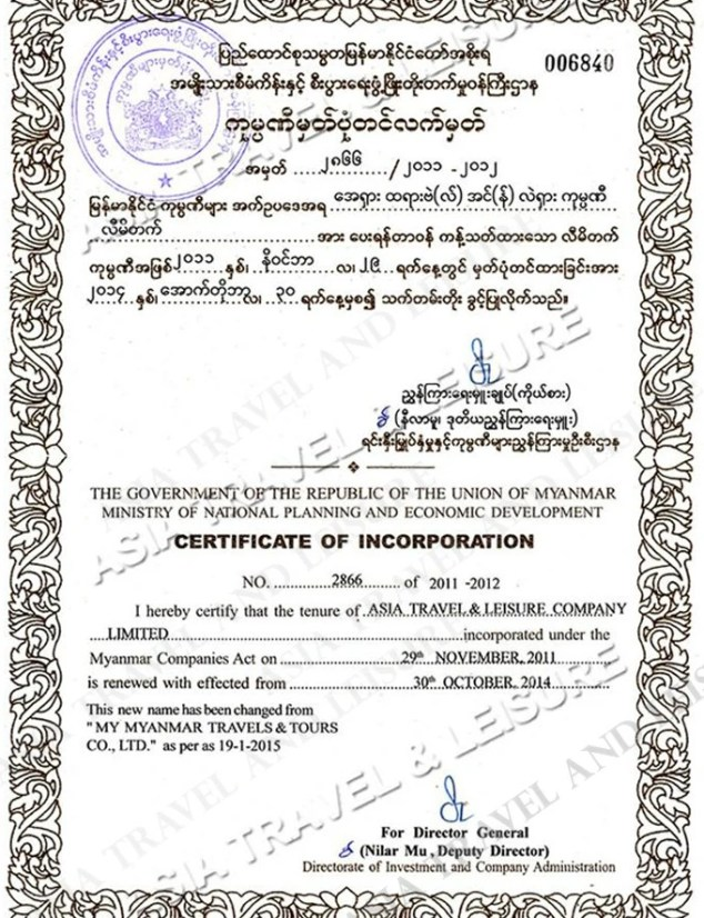 Company Licence Asia Travel & Leisure (Myanmar) Co., LTD