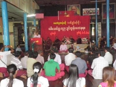 မွန်ပြည်သစ်ပါတီဥက္ကဌနိုင်ထောမွန် ရေးမြို့ဘုန်းတော်ကြီးကျောင်း၌ရှင်းလင်းပြောကြားခဲ့စဉ်(Photo-NMSP)