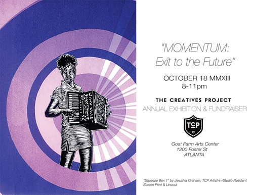 An image of the invitation for The Creatives Project's event Momentum: Exit to the Future.