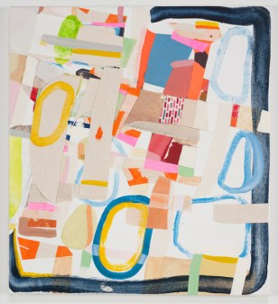 Barbara Campbell Thomas, And with, 2013; acrylic and fabric on canvas 20 by 18 inches.