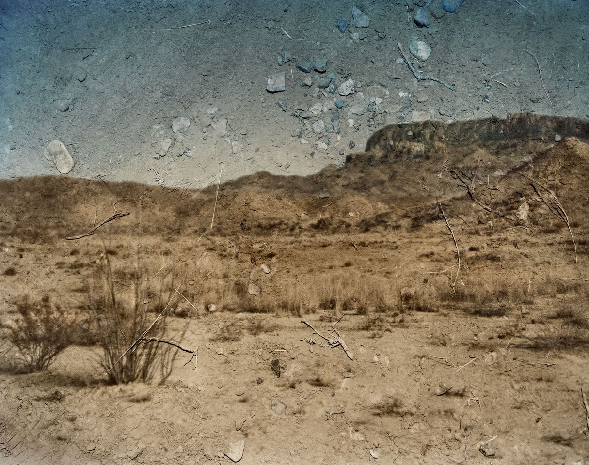 Abelardo Morell, Tent Camera Image On Ground: View Looking Southeast Toward  The Chisos Mountains, Big Bend National Park, Texas, 2010, 24 By 30 By 8  Inches.
