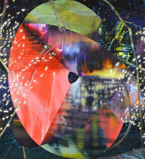 Mated along a broad meridian 2015 Acrylic and oil on canvas over panel 90 x 82 inches