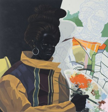Kerry James Marshall, Untitled (Painter), 2009; acrylic on PVC; 44 5/8 by 43 1/8 by 3 7/8 in. (113.4 by 109.5 x 9.8 cm). Collection Museum of Contemporary Art Chicago, gift of Katherine S. Schamberg by exchange, 2009.15. © 2009 Kerry James MarshallPhoto: Nathan Keay, © MCA Chicago