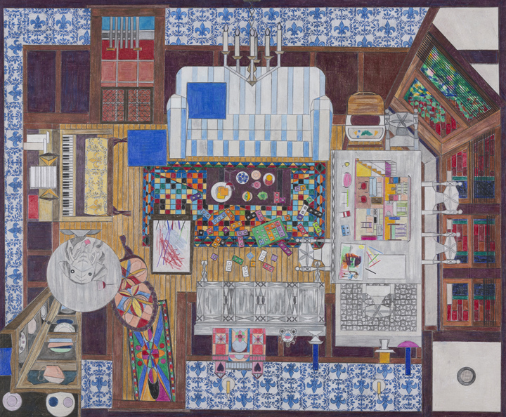 Ann Toebbe, Playdate, 2016; graphite and colored pencil on paper, 20 by 24 inches.